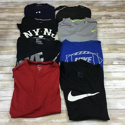 Nike Under Armour ~ Mens Xl ~ Lot Of 8 Sports Fitness Shirts Tops