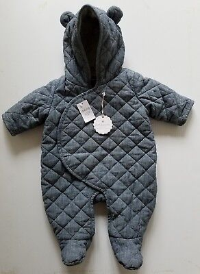 NWT $49 BABY GAP 0-3M Quilted Chambray Bear SNOWSUIT COVERALLS Boy's 0-3 Months