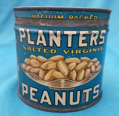 Vintage Planters Salted Virginia Peanut 1 lb Tin Can, Rare