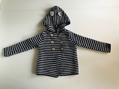 Baby Boden Navy Stripe Knit Hooded Sweater with Mouse Ears 3-4 Years EUC