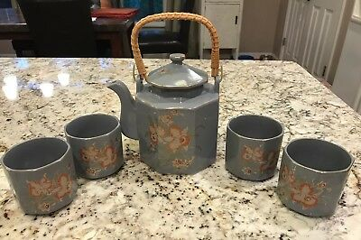 Japanese Teapot And Cup Set , Gray With Flowers And Gold Trim