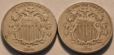 Lot of (2) Better Date Shield Nickels, 1875, 1876 Middle Grade Original 5C Group