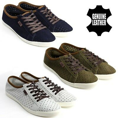 Mens Casual Lace Up Leather Breathable Suede Trainers Comfortable Shoes UK Size