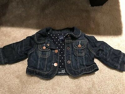 Baby Girl Baby Gap Denim Jacket With Jersey Lining Size 0-6 Months