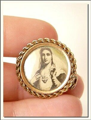ANTIQUE 1920's SACRED HEART of MARY PHOTO LOCKET GILT BROOCH ! VISIT MY STORE !