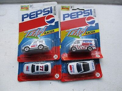 Lot Of 4 Pepsi 2 Cars Convertible Team Racer 77 Car Van Jeep Die Cast Metal