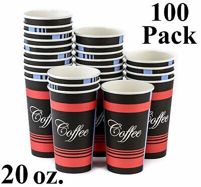 100 Pack 20 Oz. Eco Friendly Poly Paper Disposable Hot Tea Coffee Cups No Lids