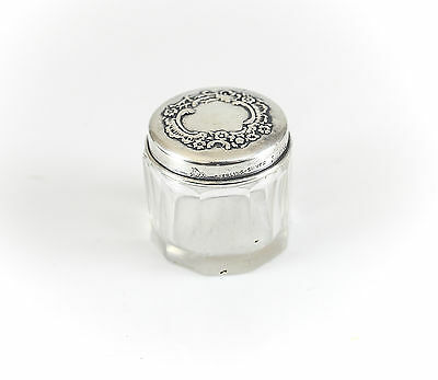 Mauser Mfg. Sterling Silver & Cut Glass Small Vanity Jar, c1900