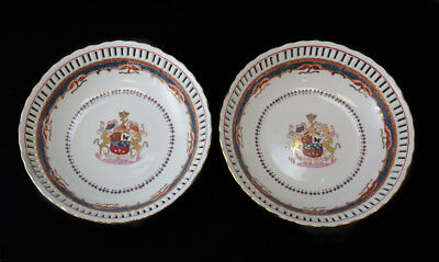 Vintage Pair of Chinese Export Porcelain Reticulated Bowls, Armorial Crest