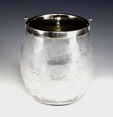 c1900 Sheffield Silverplate Etched Glass Biscuit Jar by William Hutton & Son
