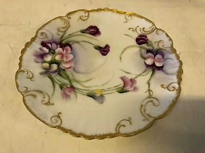 Vintage Possibly Antique Porcelain Plate with Painted with Colored Floral Dec.