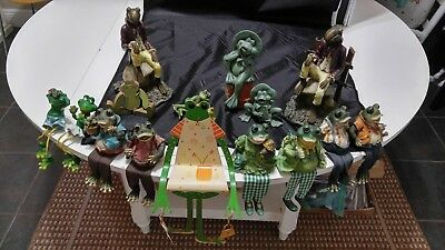 LOT of 16 FROG FIGURINES Ceramic,Resin,Metal,Wood,Ledge Sitters,Modables Cute!!