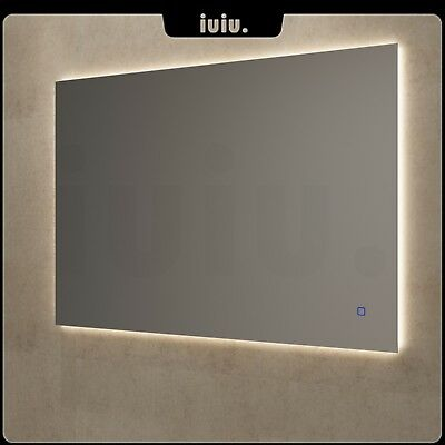 Square LED Mirror Bathroom Wall Mounted Waterproof Touch Anti fogging 900/1200mm