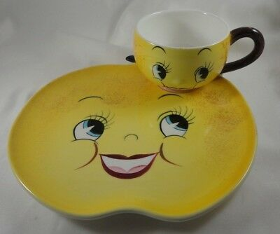 Vintage PY Japan Anthropomorphic Yellow Apple Face Plate & Cup