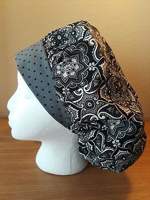 Kaleidoscope Flowers Gray Women's Bouffant Surgical Scrub Hat/Cap Handmade