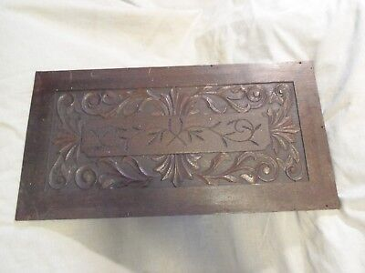 Vintage Wooden Panel Plaque Carved Wood Architectural Antique Furniture Parts