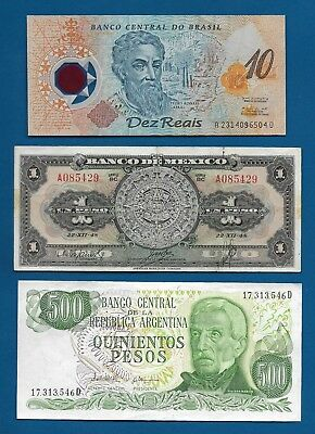 15x World Banknotes Brazil, Mexico, Spain, etc. See All Scans Lot 3O-55