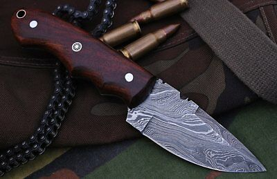 Custom Twist Damascus Steel Drop Point Hunting/Skinner Knife A36 Wood Handle