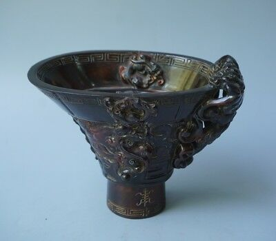 Chinese Exquisite Hand-carved Animal pattern Ox Horn cup