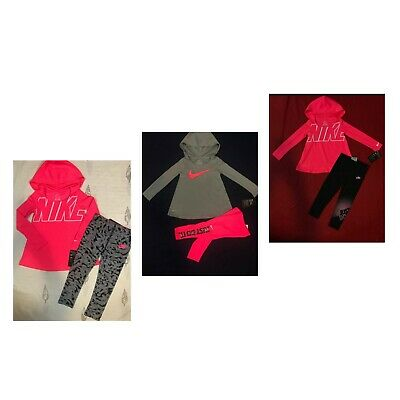 Nike Dri-Fit Toddler  Girl 2 Pc Hooded Tunic Top & Leggings Set Sz  2T 3T 4T NWT