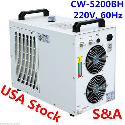 S&A 220V CW-5200BH Water Chiller for One 8KW Spindle/One 130-150W CO2 Laser Tube