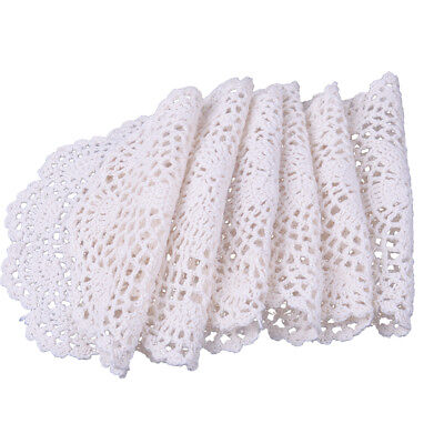 6pcs Lace Floral Round Cream Hand Crochet Cup Mat Doilies Coasters Wedding
