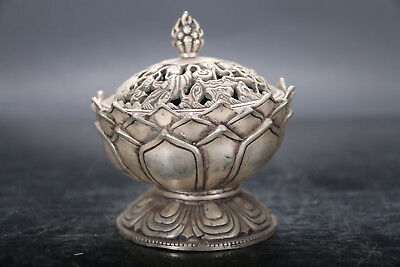 Exquisite Antiquity Chinese Hand Carving Cupronickel Lotus Incense Burner
