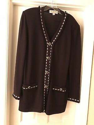 Stunning! ST JOHN COLLECTION KNIT By Marie Gray Eggplant JACKET SZ 14