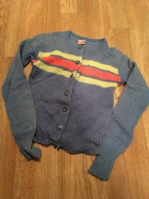 Vintage 1940's Boys Button Up Sweater Young Star Hilbe And Co Denver Cool!