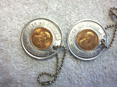 Two NOS 1973 Las Vegas Club Casino NOS Coin KEY Chains Penny Mint D