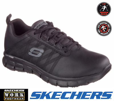 Skechers 76576 Womens Sure-Track Erath Slip Resistant Stylish Leather Work Shoes