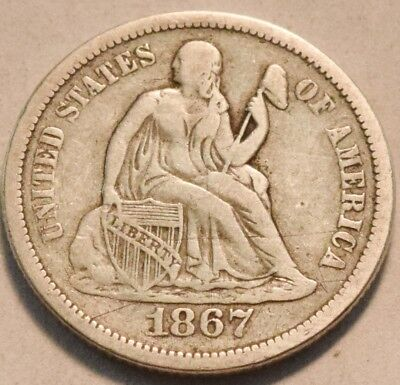 1867 S Seated Liberty Dime, Scarce Date, Middle Grade Silver 10C Coin