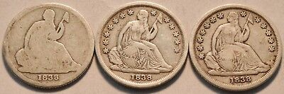 Lot of (3) 1838 Seated Liberty Dimes, Scarce Date 1838 O No Stars Silver 10C