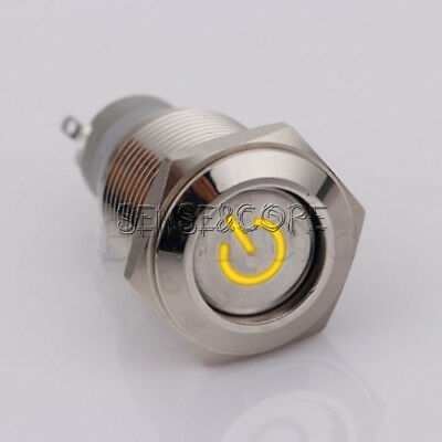 16mm 5pin 12V Led Metal Cars Boat DIY Push Button Latching Switch Orange