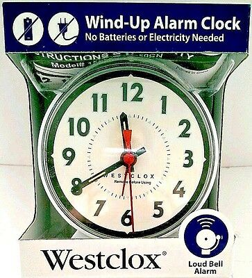Westclox Wind-Up Alarm Clock with Loud Bell Alarm Analog Display New White