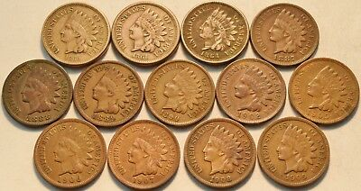 Lot of (13) Full LIBERTY Indian Head Cents 1860 1861 1864 CN 1887 1888 Penny 1C