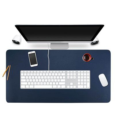 """BUBM Desk Pad Protecter 35"""" x 18"""", PU Leather Desk Mat Blotters Organizer with"""