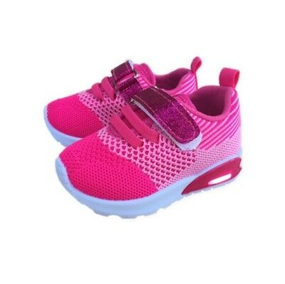 Baby Toddler Girl Pink Light Up Shoes Size 3 Hook And Loop Mesh Style
