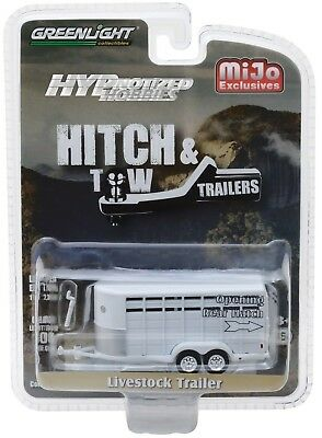 1:64 GreenLight *HITCH & TOW* WHITE *ANIMAL LIVESTOCK TRAILER* NIP