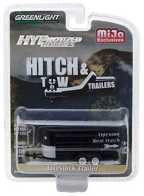 1:64 GreenLight *HITCH & TOW* BLACK *ANIMAL LIVESTOCK TRAILER* NIP