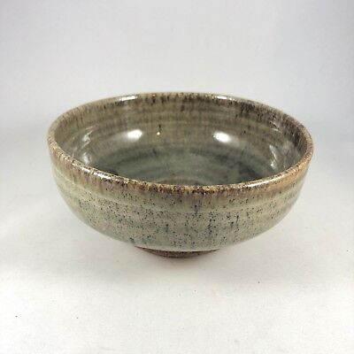"""Vintage Japanese Pottery Bowl with Brown Green Speckled Glaze, 6"""" Diameter"""