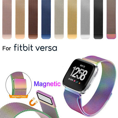Watch Band Stainless Steel Magnetic Milanese Strap Wristband For Fitbit Versa