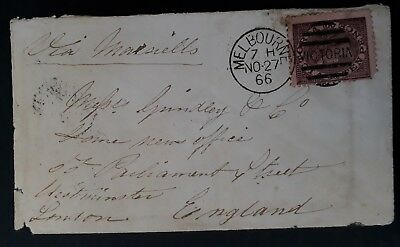 Rare 1866- Victoria Australia 10d Dull Purple on Pink Laureate Stamp on cover UK