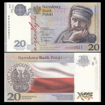 Poland 20 Zlotych, 2018, P-NEW, 100th Commemorative, In folder, UNC