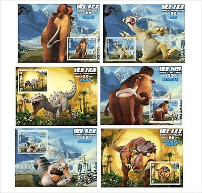 Disney Ice Age 3 Characters 11 Souvenir Sheets Mnh Unperforated