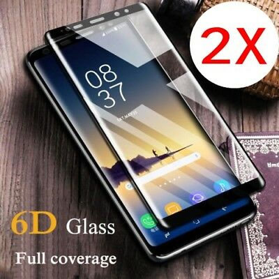 2X 6D Full Cover Tempered Glass Screen Protector Samsung Note 9 S9 S8 Plus S7 DC