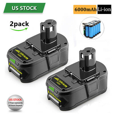2x 6.0Ah 18 VOLT P108 for RYOBI 18V ONE PLUS Lithium-Ion High Capacity Battery
