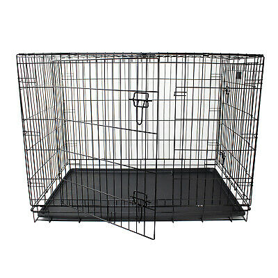 "42"" Pet Transport Cage for Dog & Pets - Two Door Metal Crate - Quality 4mm Wire"