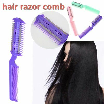 Changeable Blades Hairdressing Double Sided Hair Styling Razor Thinning Comb AO