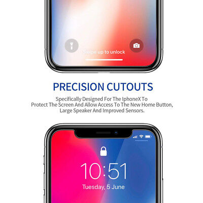 """2*Premium Tempered Glass Screen Protector for iPhone Xs 5.8"""" XR 6.1"""" Xs Max 6.5"""""""